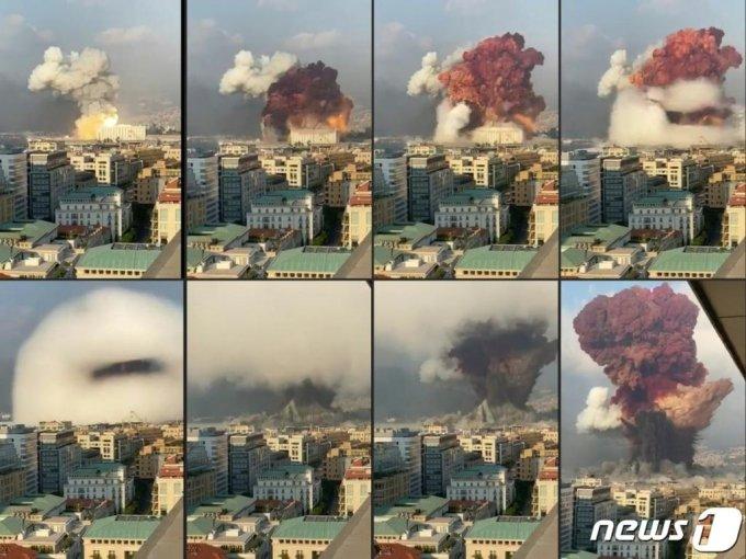 (AFP=뉴스1) 5일(현지시간) 레바논 수도 베이루트 항구 창고에 보관돼 있던 인화성 물질 질산암모늄이 두차례에 걸쳐 대규모로 폭발하는 모습.  ⓒ AFP=뉴스1