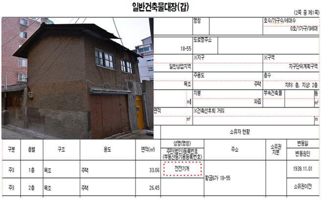일제 잔재 적산가옥과 건축물대장(예시)/자료=서울시