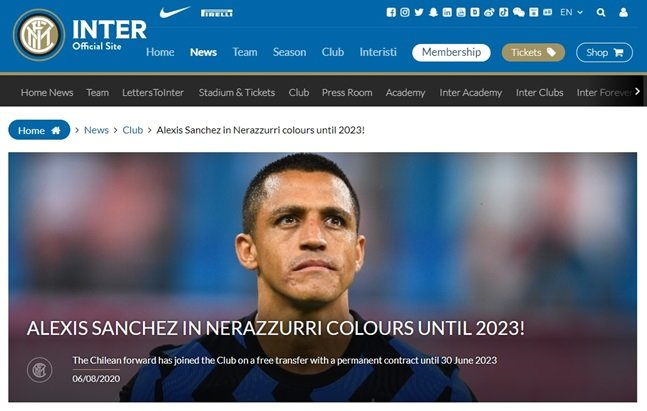 인터밀란이 공식 홈페이지를 통해 알렉시스 산체스와 계약 소식을 전했다. /사진=인터밀란 홈페이지 캡처<br /> <br />