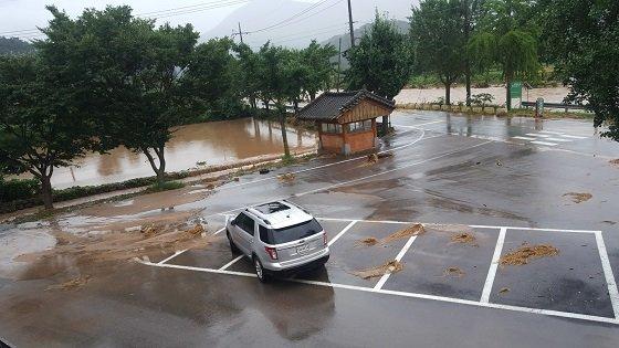 전남 담양군 지곡리 논이 빗물에 잠긴 모습/사진=박경담 기자