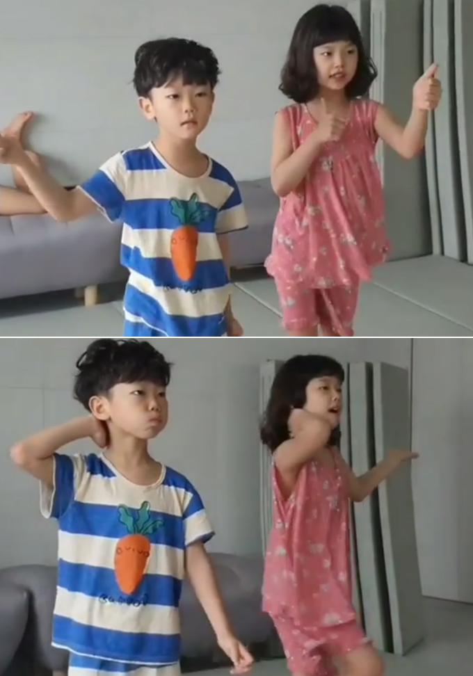 가수 영탁의 노래에 맞춰 춤을 추고 있는 시안, 설아 /사진=축구선수 이동국 아내 이수진씨 인스타그램