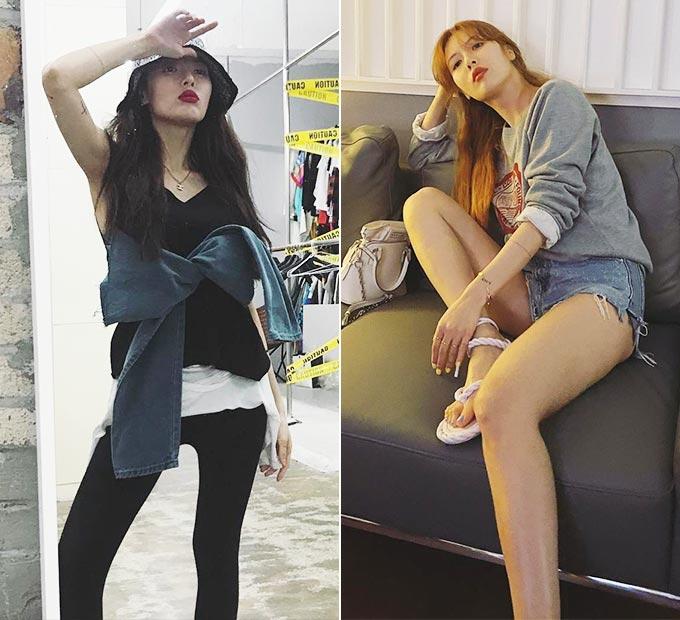 43.1㎏ 몸무게를 인증했던 2018년 10월과 지난 6월 가수 현아의 모습/사진=현아 인스타그램