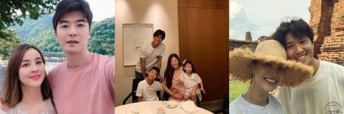 왼쪽부터 한혜진-기성용 부부, 김성은-정조국 가족, 양은지-이호 부부/사진=SNS 사진 캡처