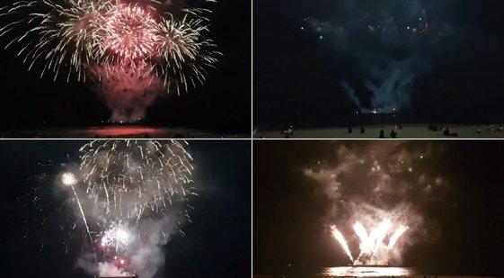 1일 방탄소년단 멤버 정국의 생일을 축하하기 위해 중국 팬들이 부산 해운대에서 불꽃놀이 이벤트를 진행했다. /사진=트위터 영상 캡처