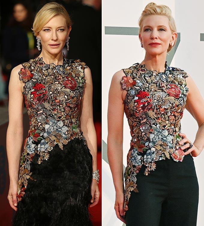 2016 영국 아카데미 시상식, 2020 베니스 영화제에서 같은 옷을 다르게 연출한 배우 케이트 블란쳇/사진=AFP