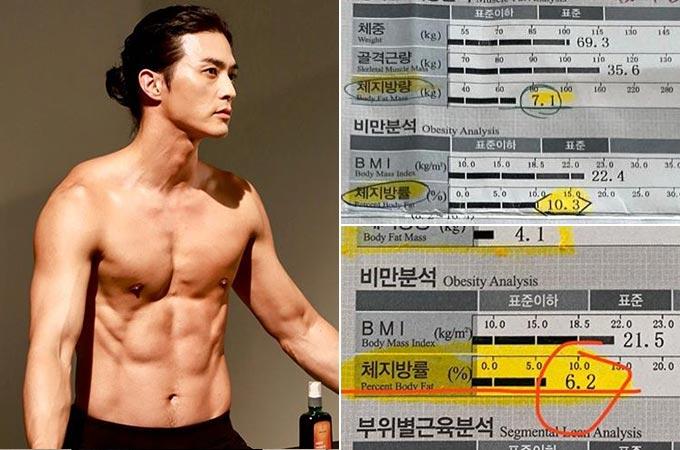 (위)2월14일, (아래)5월21일 배우 김지훈의 체성분검사 결과. 체지방이 10.3%에서 6.2%로 감소했다./사진=김지훈 인스타그램