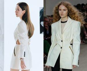 지수, 과감한 하의실종 패션…허리 트임 재킷