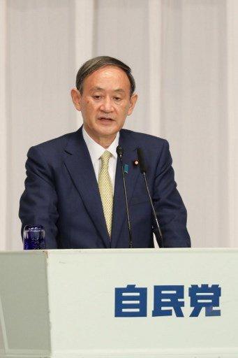 지난 8일 자민당 총재 선거 '소견 발표 연설회'에 나선 스가 요시히데 일본 관방장관/사진=AFP