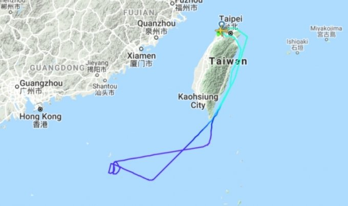 지난달 7일 대만 스타럭스 항공사가 '여행하는 척' 유람비행 상품의 운행을 진행했다. 약 3시간30분 동안 승객들을 태우고 타이완 동부 해안을 저공비행한 뒤 돌아왔다. /사진=FlightRadar24.com