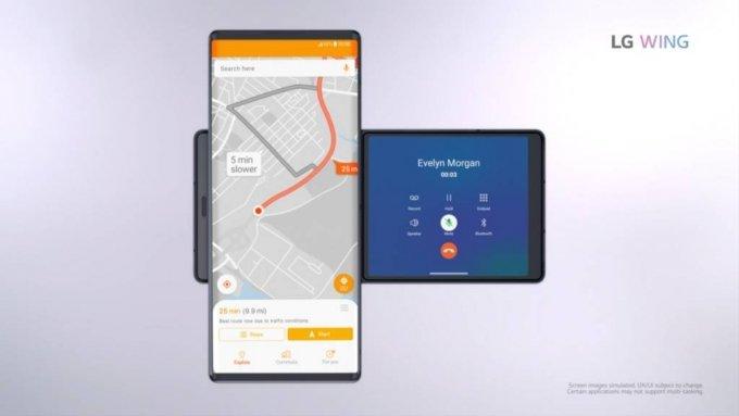 LG전자 전략 스마트폰 'LG 윙'에서 두 개 앱을 동시 실행하는 모습. /사진제공=LG전자
