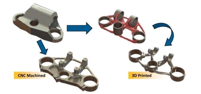 3D프린팅과 CNC 절삭 부품간 제작비교. 같은 강도라도 훨씬 가볍고 정밀한 가공이 가능하다. /사진=태성에스엔이