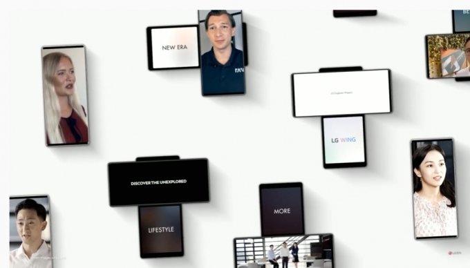 LG전자 전락 스마트폰 'LG 윙' 공개 행사 화면 캡처.