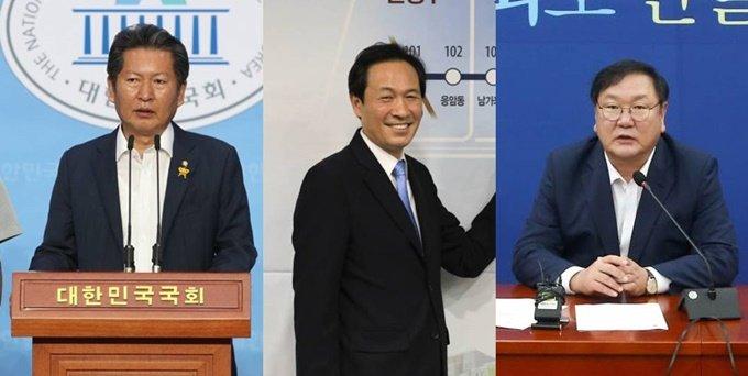 정청래 더불어민주당 의원, 우상호 의원, 김태년 원내대표(왼쪽부터) /사진=뉴시스