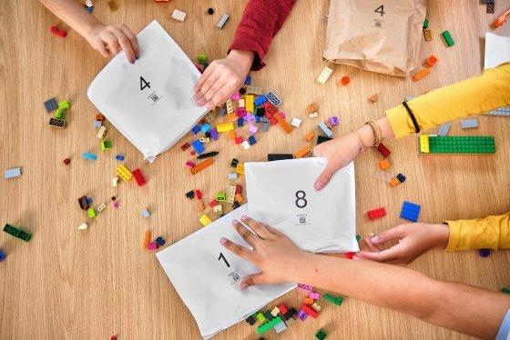 재활용 종이 봉투 레고 브릭 포장 용기