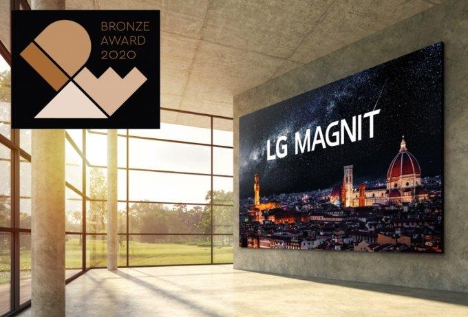 LG전자의 케이블리스 콘셉트 LED(발광다이오드) 사이니지가 세계적 권위의 디자인상인 'IDEA 2020'에서 동상을 수상했다. 이 디자인을 적용한 'LG 매그니트'. /사진제공=LG전자