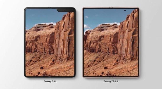 갤럭시Z 폴드2(오른쪽)와 전작 갤럭시 폴드 메인 화면 비교. /사진=삼성전자