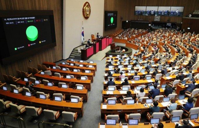 8월  오후 서울 여의도 국회에서 열린 제380회국회(임시회) 제8차 본회의에서 재건축초과이익 환수에 관한 법률 일부개정법률안이 가결되고 있다. /사진제공=뉴스1