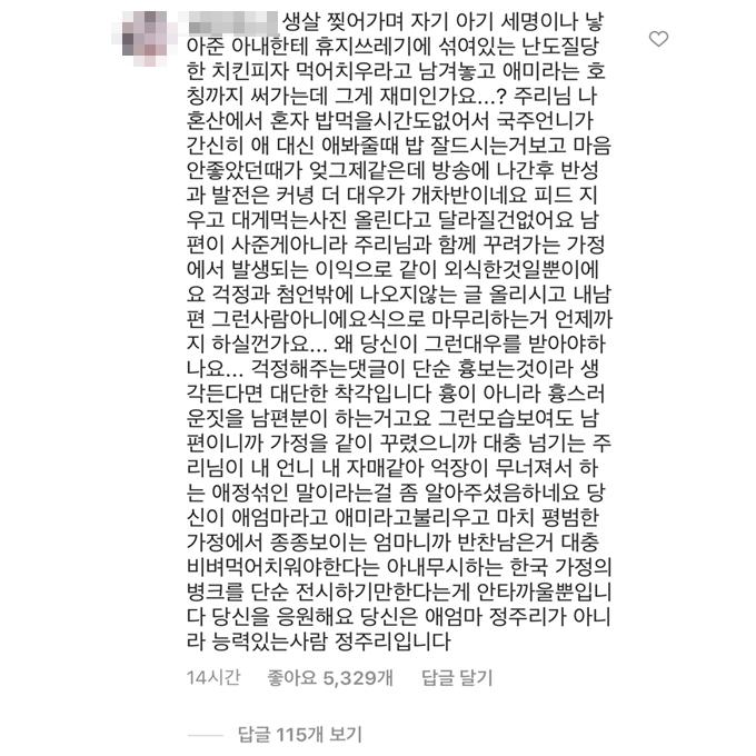 /사진=정주리 인스타그램 댓글 캡처