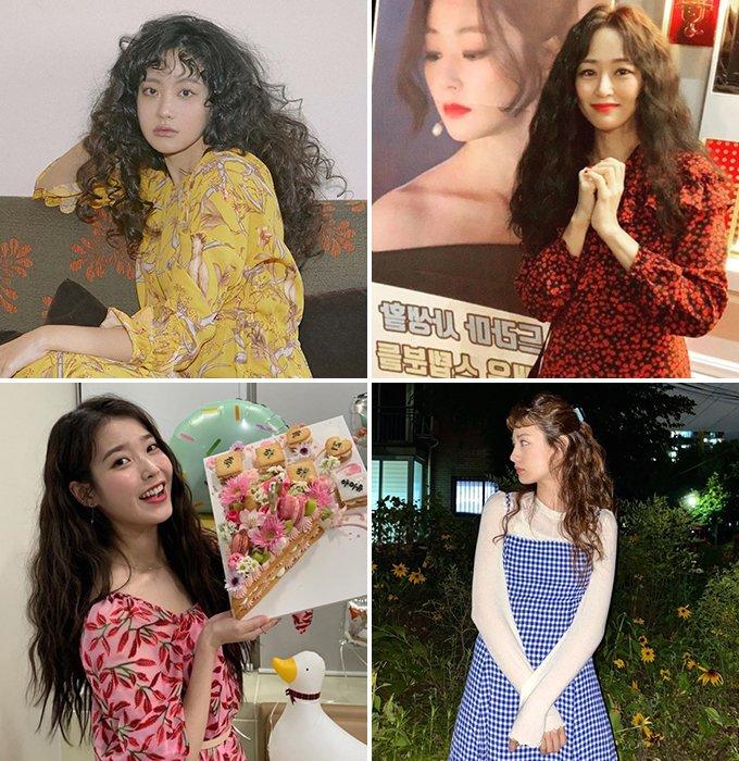 (왼쪽 상단부터 시계방향)배우 오연서, 김효진, 나나, 가수 아이유 /사진제공=데이즈드, 인스타그램
