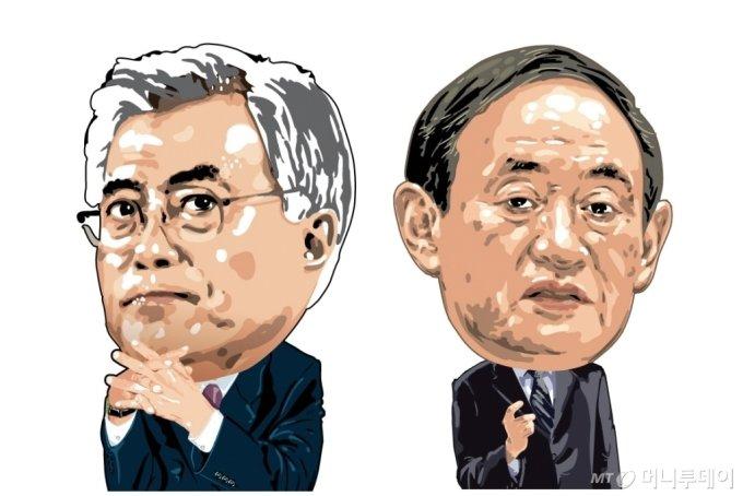 문재인 대통령과 스가 요시히데 일본총리 /삽화=임종철 디자인기자