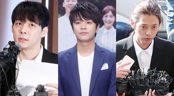 왼쪽부터 JYJ 출신 가수 박유천, UN 출신 배우 김정훈, 가수 정준영. /사진=머니투데이DB