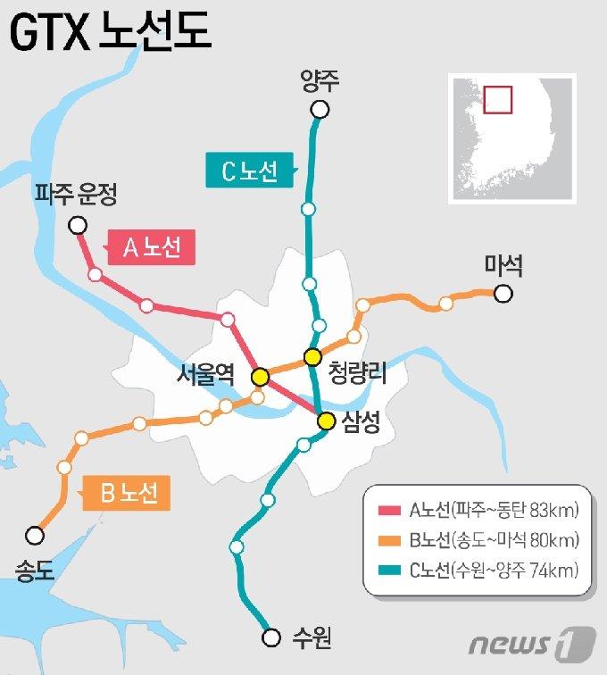 수도권 광역급행철도(GTX) 3개 노선도 /© News1 DB