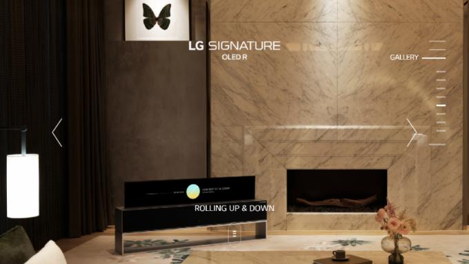 세계 최초의 롤러블 TV 'LG 시그니처 올레드 TV R' 전용 사이트 갤러리 페이지. 롤러블 TV가 놓여진 다양한 라이프스타일 이미지를 선보였다. /사진=웹사이트 캡처