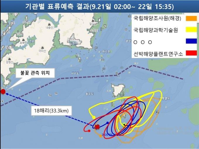 전문기관들이 예측한 A씨 실종 당시의 조류 상황. /사진=해양경찰청