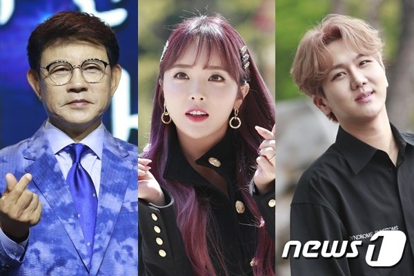 설운도(왼쪽부터), 홍진영, 김수찬© 뉴스1