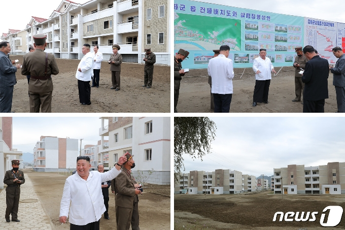 [사진] 김정은, 강원도 수해복구 성과에 만족…'살림집 설계 천편일률' 지적