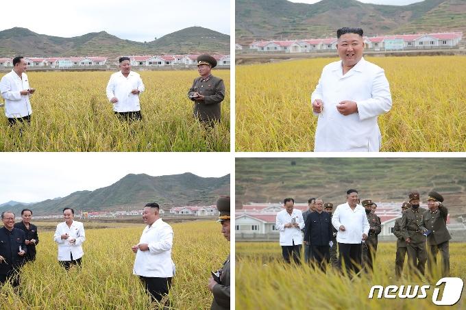 [사진] 김정은, 강원도 수해복구 현장서 만족…