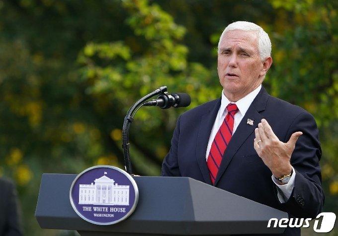 마이크 펜스 미국 부통령이 28일 (현지시간) 워싱턴 백악관 로즈가든에서 코로나19 검사 전략 관련 발언을 하고 있다. © AFP=뉴스1 © News1 우동명 기자