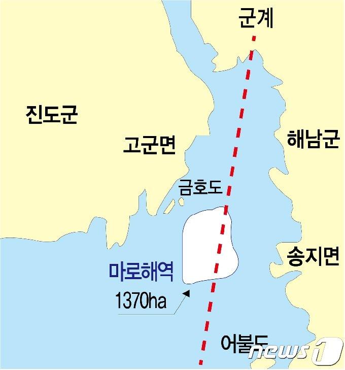 해남군 송지면과 진도군 고군면 사이의 마로해역/뉴스1 © News1