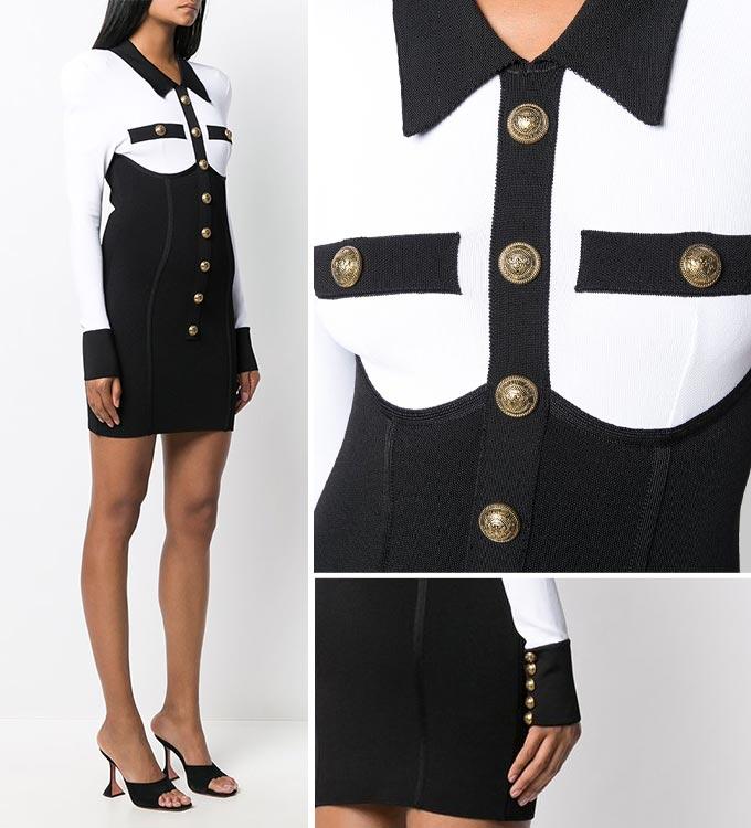 발망 버튼 투톤 코르셋 드레스/사진=파페치 공식 홈페이지