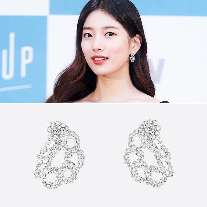 가수 겸 배우 수지, 밀류뒤시에클 이어링/사진제공=tvN, 디올