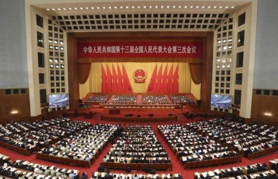 [베이징=신화/뉴시스]22일 중국 베이징 인민대회당에서 (전인대) 3차 회의가 열리고 있다. 2020.05.22.