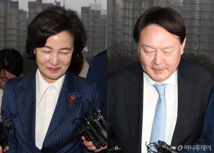 추미애 법무부 장관(사진 왼쪽)과 윤석열 검찰총장/사진=이기범 기자 leekb@