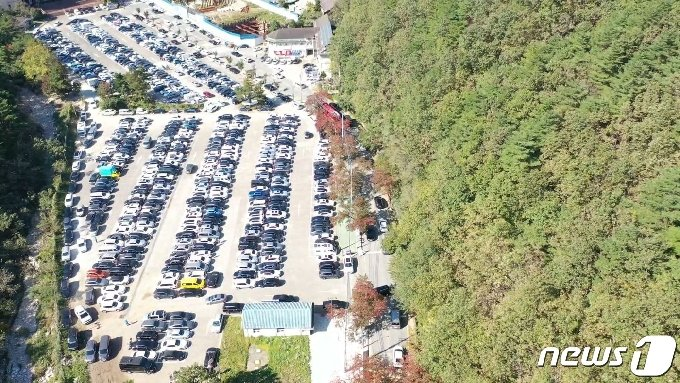 지난 17일 강원 속초 설악산 진입로와 주차장이 단풍구경을 온 나들이객들의 차량들로 꽉 차 있다.(설악산국립공원사무소 드론영상 캡처)© 뉴스1