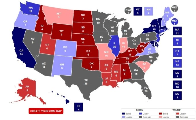 미국 정치전문매체 리얼클리어폴리틱스(RCP)가 예상한 2020년 미 대선에서의 후보별 주 선거인단 확보 결과 (10월19일 기준) / 사진 캡처=RCP 홈페이지
