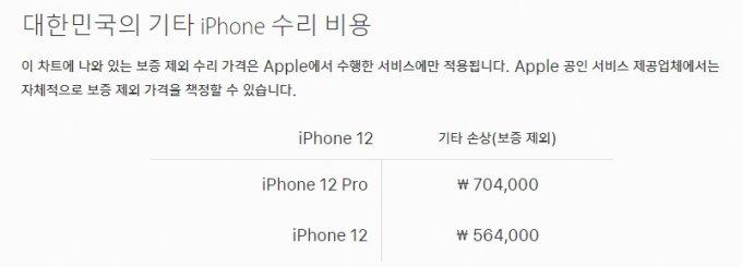 아이폰12와 아이폰12 프로 기타 수리 비용 /사진=애플