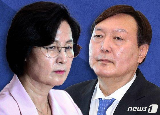 추미애 법무부 장관(오른쪽)과 윤석열 검찰총장© News1 이지원 디자이너