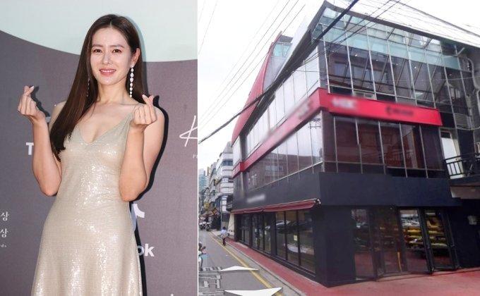 배우 손예진(왼쪽)이 매입한 서울 강남구 신사동의 한 건물./사진=머니투데이DB, 네이버 지도 로드뷰