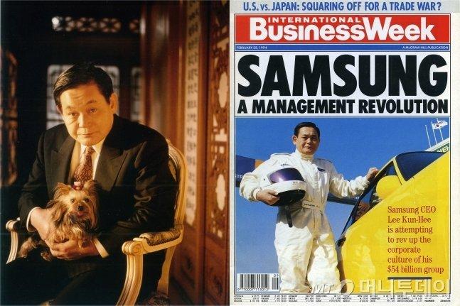 이건희 삼성전자 회장 체제에서 삼성이 반도체에 두각을 드러내자 외신들도 주목했다. 왼쪽은 1993년 포춘지 인터뷰에서 애견을 품에 안고 사진을 찍은 이 회장. 오른쪽은 비즈니스 위크 표지 기사로 등장한 이 회장. /사진제공=삼성전자