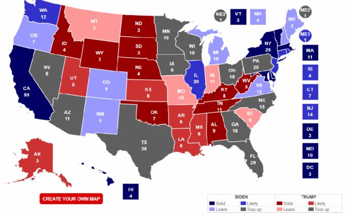 미국 정치전문매체 리얼클리어폴리틱스(RCP)가 예상한 2020년 미 대선에서의 후보별 주 선거인단 확보 결과 (10월26일 기준) / 사진 캡처=RCP 홈페이지