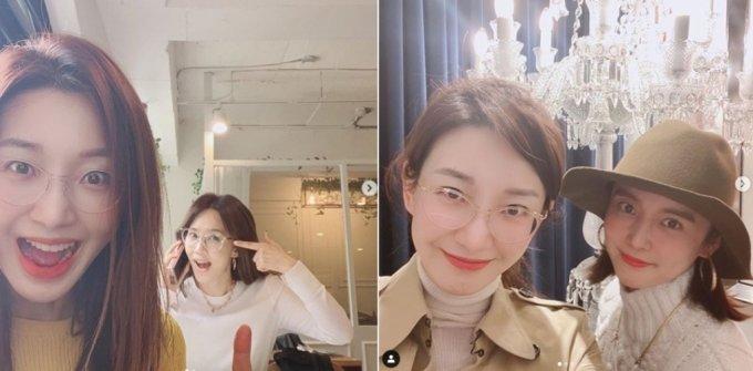 배우 이아현과 오현경(왼쪽사진), 이아현과 강세정./사진=이아현 인스타그램