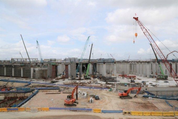 싱가포르 T301 현장에서 구조물 공사가 진행 중이다. /사진제공=GS건설