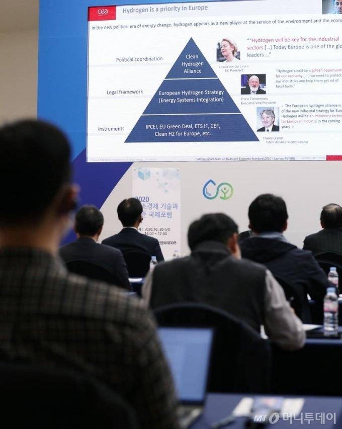 로랑 안토니 프랑스 CEA Liten 수소 및 연료전지 프로그램 매니저가 30일 서울 동대문디자인플라자(DDP)에서 열린 국회수소경제포럼 주최, 머니투데이가 주관하는 '2020 그린뉴딜 엑스포' 콘퍼런스에서 영상을 통해 '유럽의 기술규제, 표준에 대한 수소경제 전략'에 대해 발표하고 있다./사진= 김휘선 기자