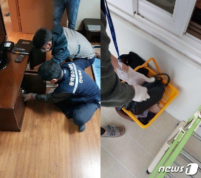 전북도 광역징수기동반이 지방세 고액체납자에 대한 가택수색을 실시하는 모습.(전북도 제공)2020.10.30/© 뉴스1