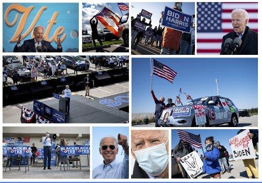 조 바이든 민주당 대선후보가 10월 29~30일(현지시간) 플로리다주, 델라웨어주, 아이오와주에서 유세를 갖고 있는 모습/사진=AFP