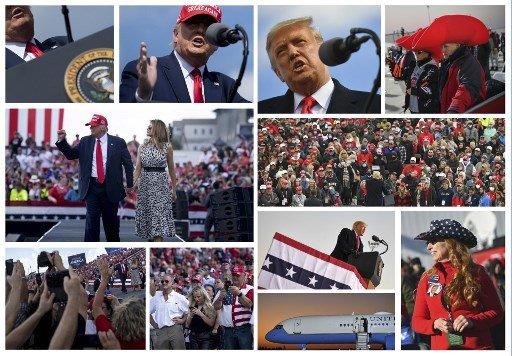 도널드 트럼프 미국 대통령이 10월 29~31일(현지시간) 사흘간 플로리다주, 위스콘신주, 펜실베이니아주 등 3개 핵심 경합주에서 '미국을 다시 위대하게'(Make America Great Again) 유세를 갖고 있다./사진=AFP